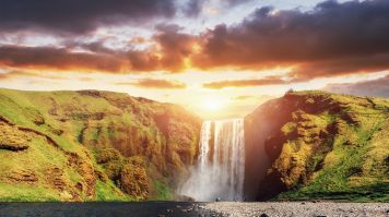 Skogafoss Waterfall, one of the five biggest waterfalls