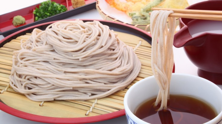 Soba in Japanese means buckwheat and refers to noodles made from buckwheat.