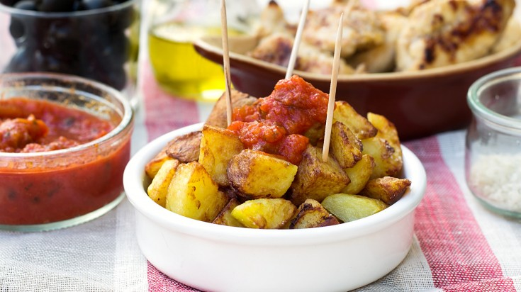 Spanish food patatas bravas