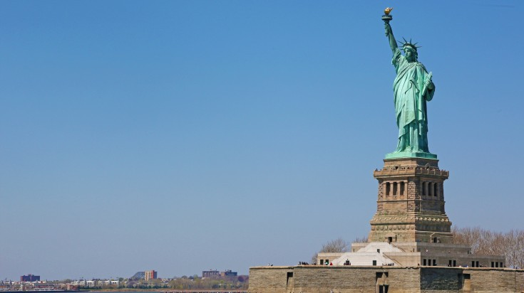 The Statue of Liberty is a neoclassical sculpture places in the city habor.