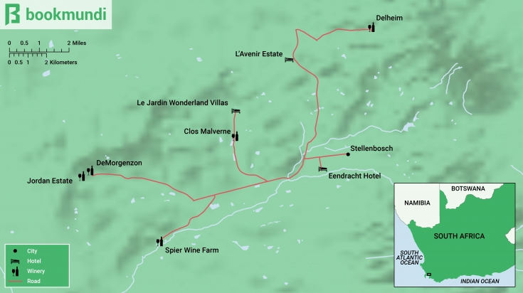 Stellenbosch Wine Tour Map