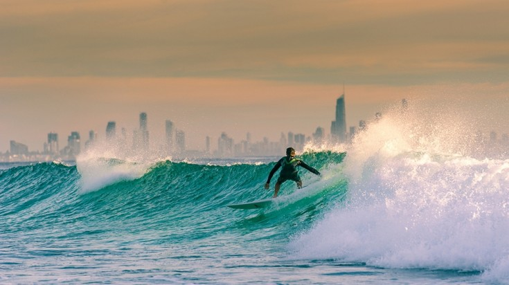 The beaches of Gold Coast brings surfers from all around the world.