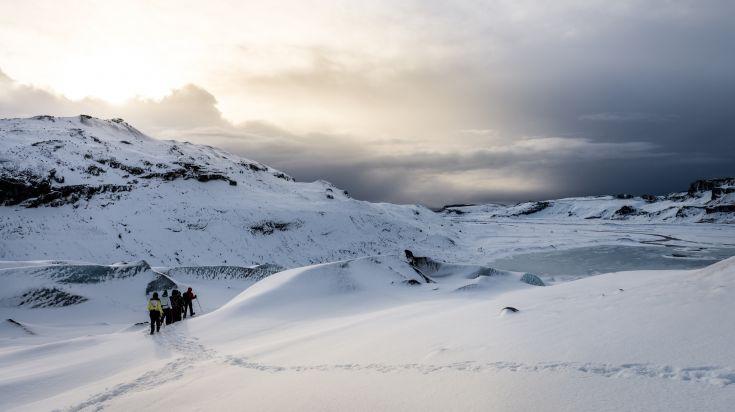 The Eyjafjallajokull glacier in Iceland is a glacier and a volcano