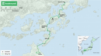 An overview map of the biking trail in Shimanami Kaido, Japan