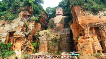 The Leshan Buddha is one of the most famous tourist attractions in China