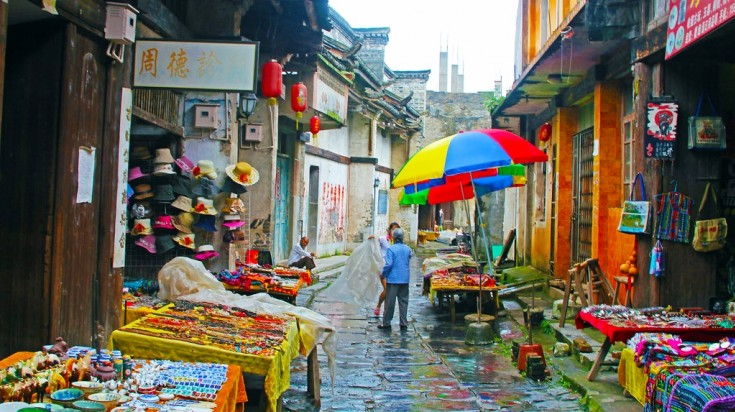 The market street in Daxu Ancient Village near Guilin
