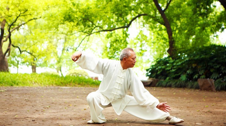 A Chinese man practicing Tai Chi amidst the greenery in Yangshuo