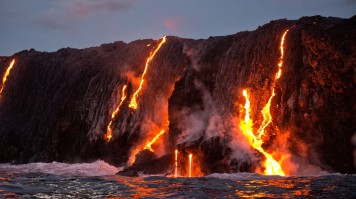 Hot lava mix with ocean water in Hawaii Volcanoes National Park