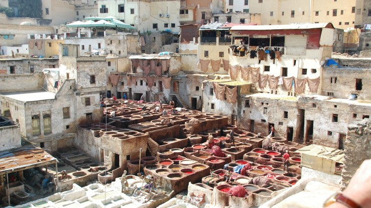 Tanneries in Fez in Morocco