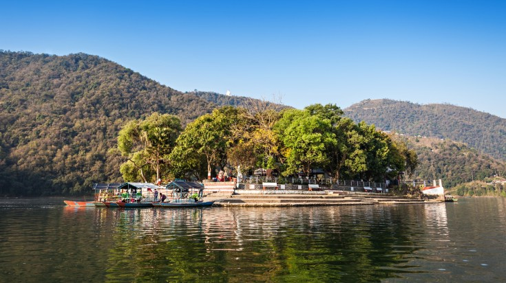 An island in the middle of the lake in Pokhara
