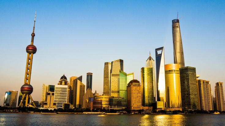 The Pudong skyline, during sunset, looks like a city made of gold