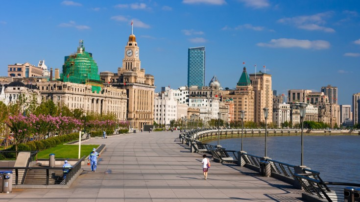 The Bund, one of the biggest Shanghai attractions, on a clear day