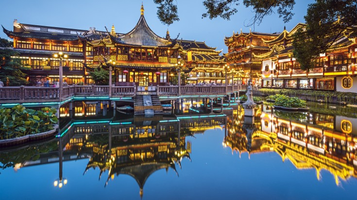 Yuyuan Garden, a must when sightseeing in Shanghai, at night