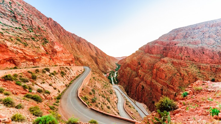 The Todra Gorge in Morocco is made of limestone and split by the river bed.