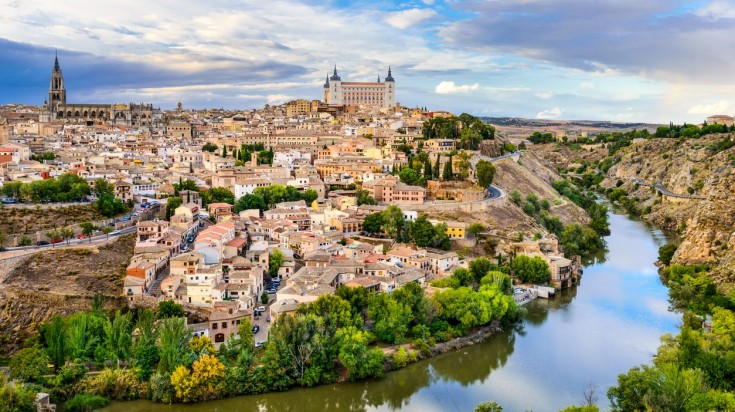 Toledo is an ancient city in Central Spain set on a hill top.
