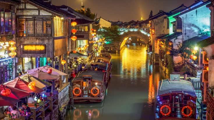 A lit up and lively night at the Grand Canal, Suzhou