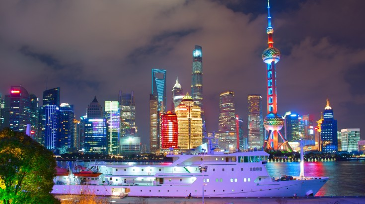 Huangpu River Cruise at night with Pudong Skyline in the background
