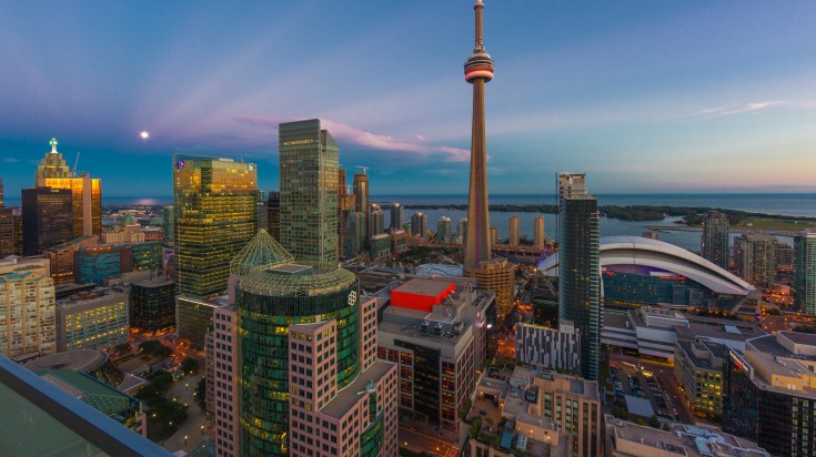 The CN Tower is an observation and communication tower in downtown Toronto.
