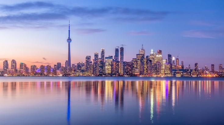 Toronto skyline with purple light
