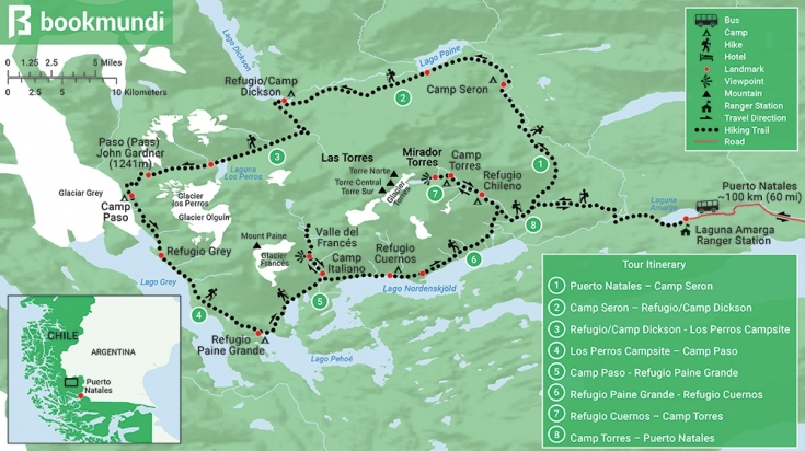 Torres del Paine Full trek Map