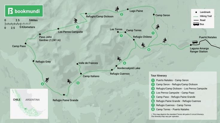 Torres del paine O trek map