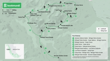 Torres del Paine Q circuit trek map