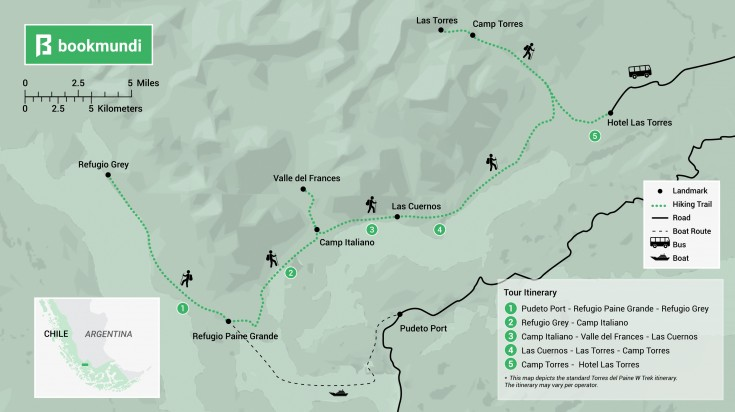 Torres del Paine W trek map