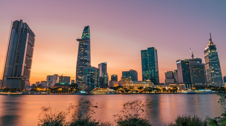 Sunset in Saigon now known as Ho Chi Minh City.