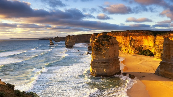 Twelve Apostles in Great Ocean Road at Sunset