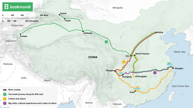 Overview map of two weeks in China