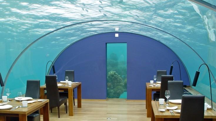 Underwater restaurant in the Maldives