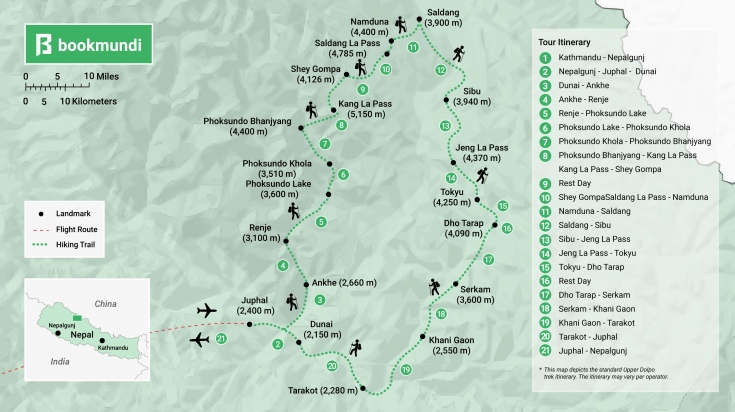 Upper Dolpo Trek map