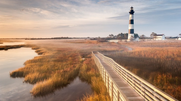 Outer Banks in USA with the lighthouse and footpath in view
