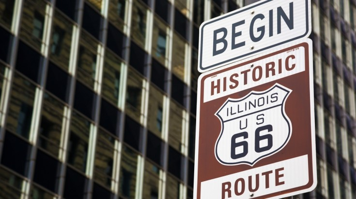 US Route 66 begins from Chicago in Illinois
