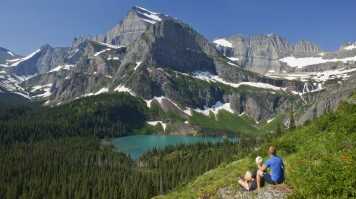 Hikers enjoy the view of Glacier National Park in Northern Montana