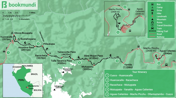Map of the Vilcabamba trek