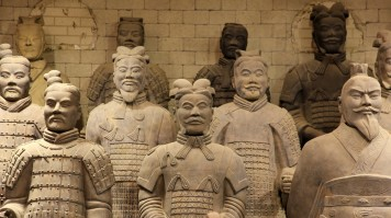 A close-up of the life-size army of terracotta soldiers and horses