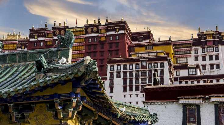 Close up view of the Potala Palace while visiting Tibet