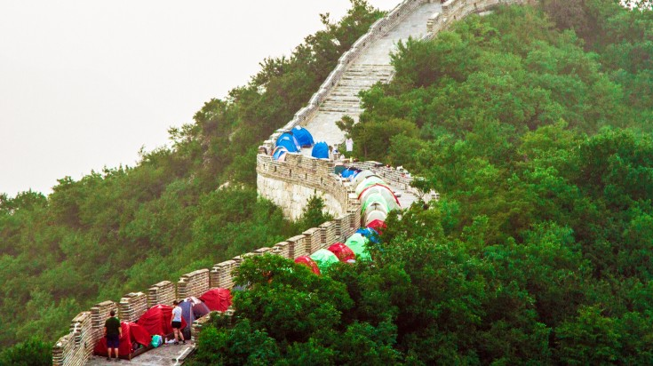 Tourists camping at the Great Wall of China
