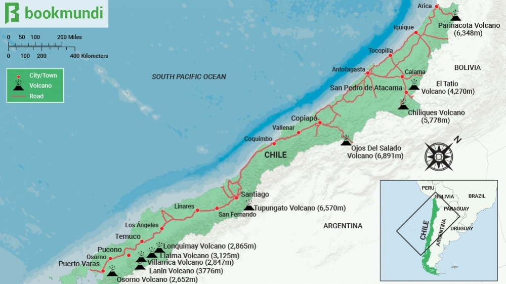 Ten Popular Volcanoes To Climb In Chile Bookmundi - Argentina volcanoes map