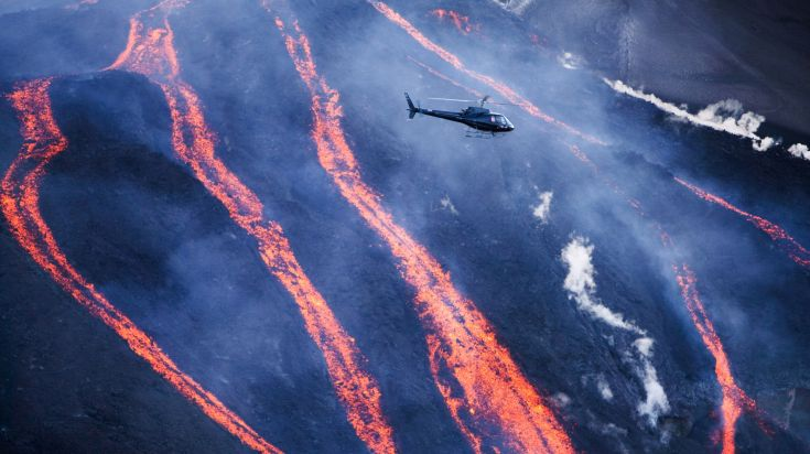 A helicopter tour above a volcano in Iceland.