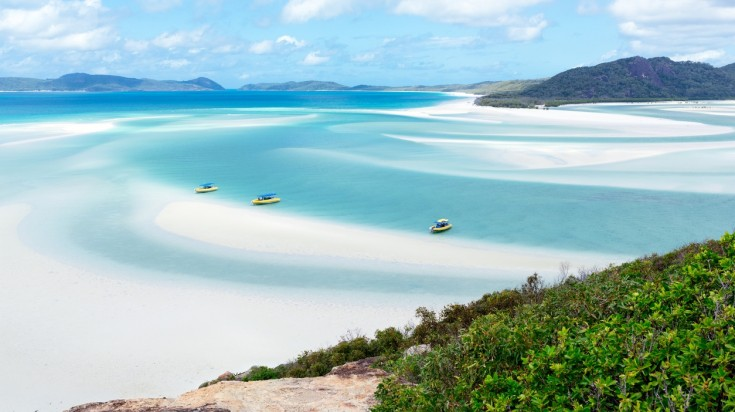 Whitehaven beach can be accessed via boat, helicopter or sea plane.