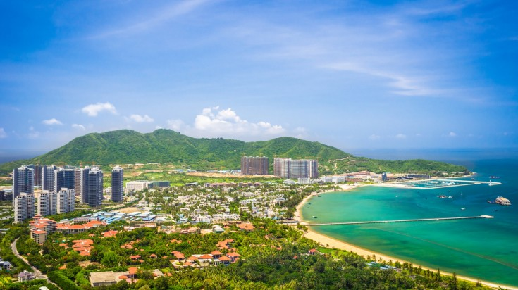 The sunny coastline of Sanya in China during winter