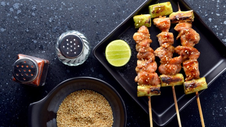 Yakitori is grilled chicken made from pieces of different parts of chiken