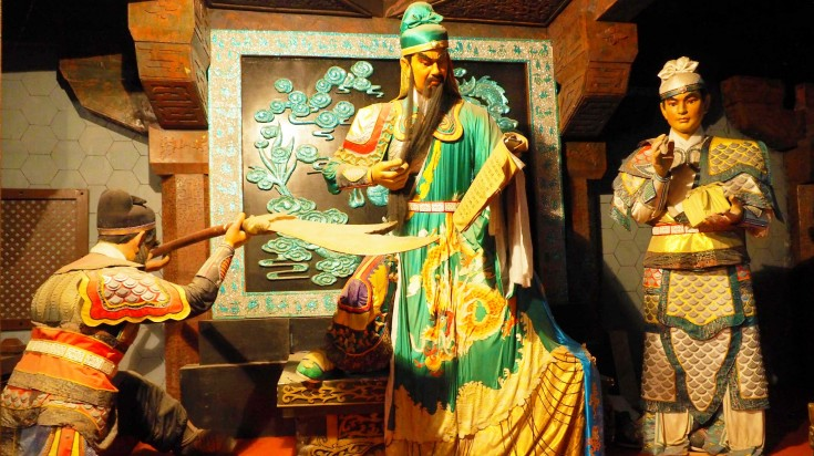 Statues of the Jade Emperor and his soldiers at Fengdu Ghost City