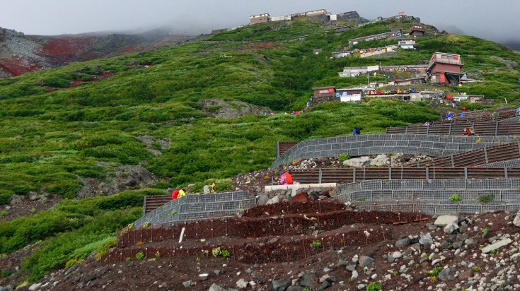Covering 13 km, Yoshida trail is the most popular trail while climbing Mount Fuji.