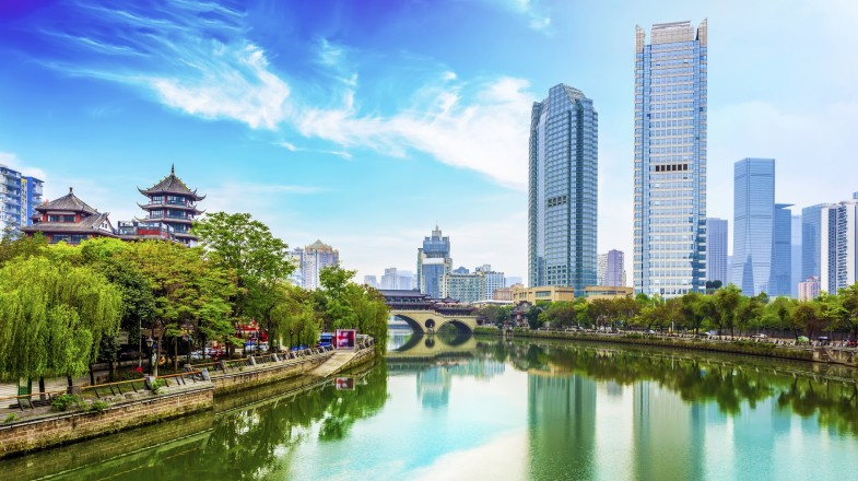 View the Ancient Chinese buildings, modern skyscrapers and river during your 2 weeks in China