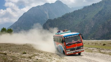 Bus going from Kathmandu to Pokhara