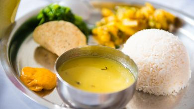 Dal Bhat is a staple Nepali food.
