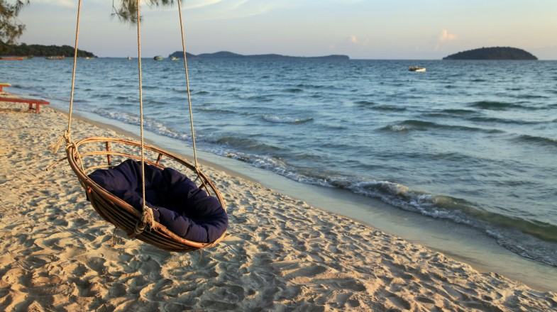 Chill on a hammock by the shore in Sihanoukville